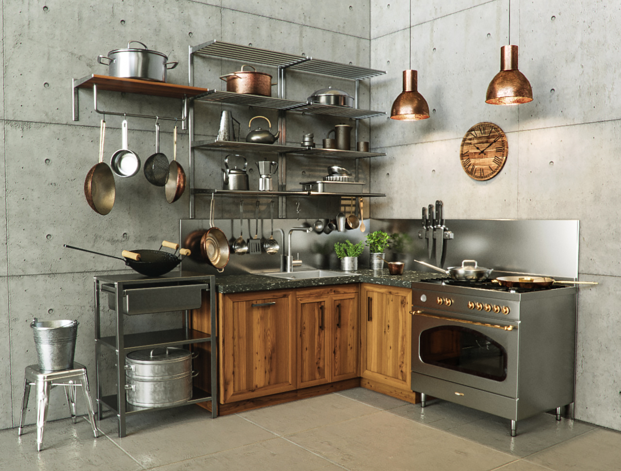 Corona_shaders_pack_for_Cinema_4D_Metal_kitchen